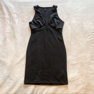 Black Bodycon Deep V Dress